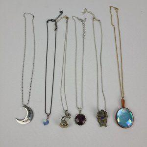 Mystical Gothic Glass Pendant Necklaces 6 Pcs
